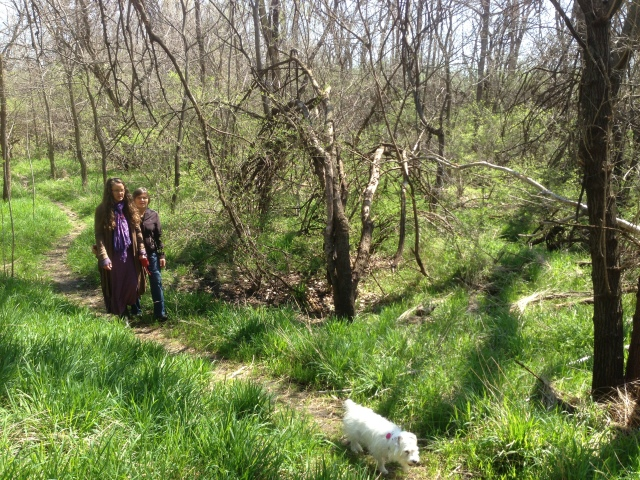 mom, lucy, and i on bethel trails